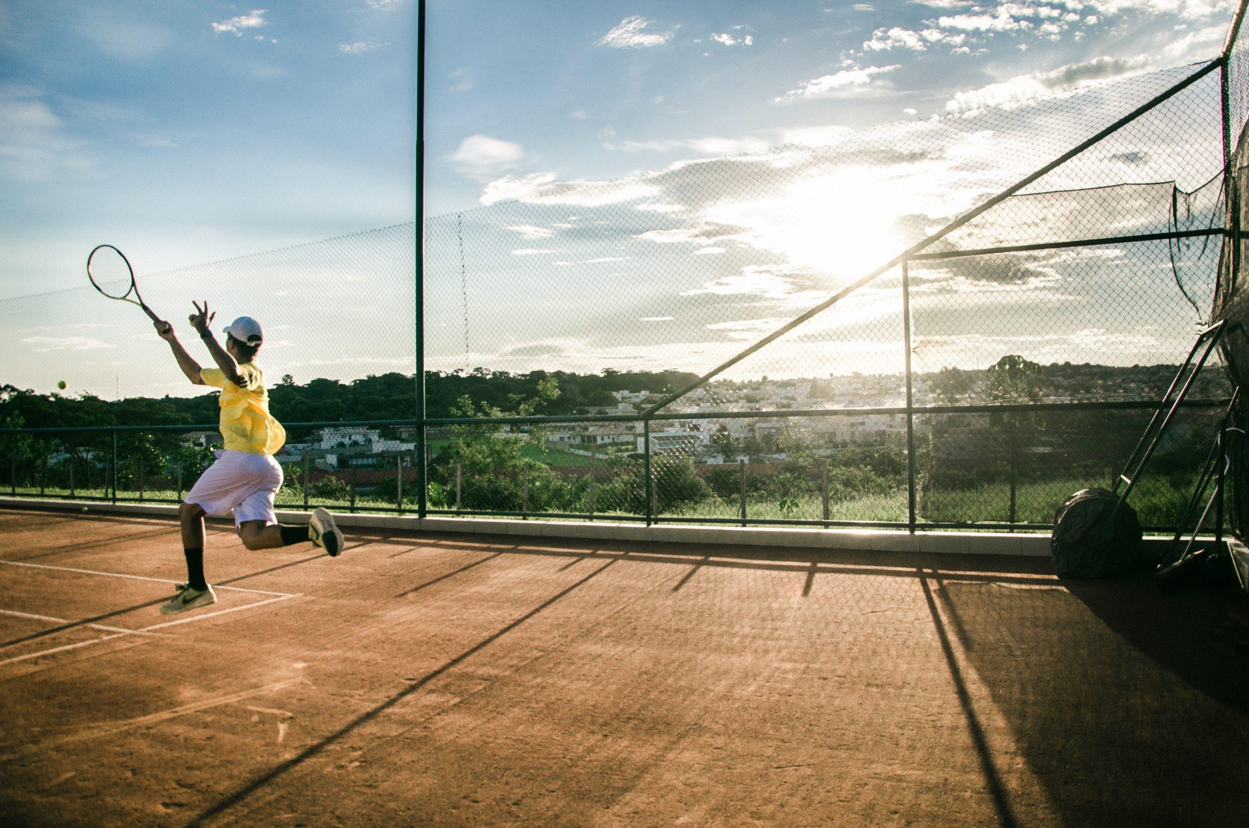 le bien-être du tennisman sur un court
